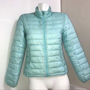 H&M Sky Baby Blue Puffer Winter GirlsZip Up Jacket
